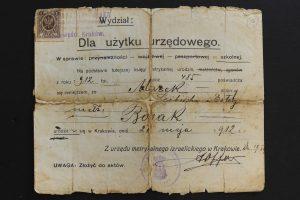 תעודת לידה מאיר בוסאק 1912